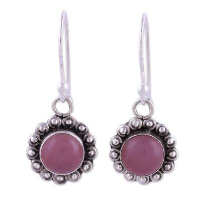 Pink Chalcedony and Sterling Silver Floral Dangle Earrings