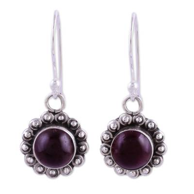 Indian Garnet and Sterling Silver Floral Dangle Earrings