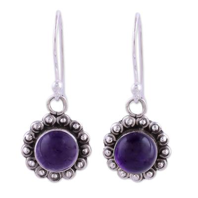 Amethyst dangle earrings, 'Purple Appeal' - Indian Amethyst and Sterling Silver Floral Dangle Earrings