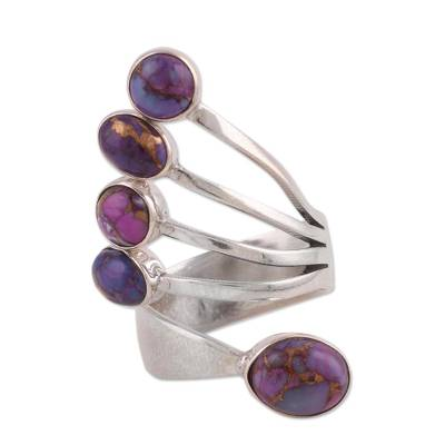 Sterling silver wrap ring, 'Shining Flight in Purple' - Sterling Silver Wrap Ring with Purple Composite Turquoise