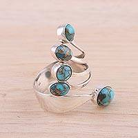Sterling silver wrap ring, 'Shining Flight in Blue' - Sterling Silver Wrap Ring with Blue Composite Turquoise
