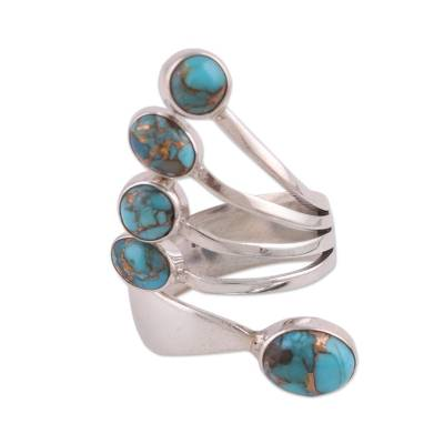 Sterling silver wrap ring, 'Shining Flight in Blue' - Sterling Silver Wrap Ring with Blue Composite Turquoise
