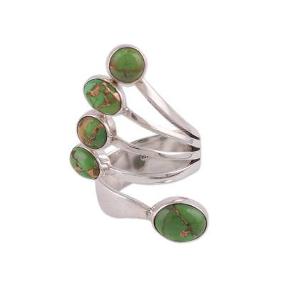 Sterling Silver Wrap Ring with Green Composite Turquoise