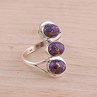 Sterling silver cocktail ring, 'Lyrical Trio in Purple' - Sterling Silver Cocktail Ring in Purple from India
