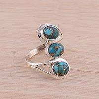 Sterling silver cocktail ring, 'Lyrical Trio in Blue' - Sterling Silver Cocktail Ring in Blue from India
