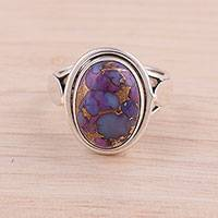 Sterling silver and composite turquoise cocktail ring, 'Blissful Balance in Purple'