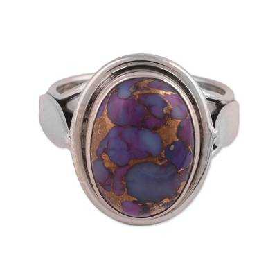 Sterling silver and composite turquoise cocktail ring, 'Blissful Balance in Purple' - Sterling Silver Cocktail Ring with Purple Turquoise