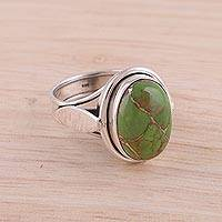 Sterling silver cocktail ring, 'Blissful Balance in Green'