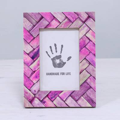 Bone photo frame, 'Pink Window' (4x6) - Handcrafted 4x6 Pink Bone Photo Frame from India