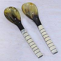 Horn and bone salad servers, 'Delhi Relics' (pair) - Two Handcrafted Horn and Bone Salad Servers from India