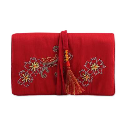 Jewelry roll, 'Floral Brilliance' - Beaded Floral Jewelry Roll in Crimson from India