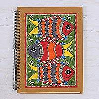 Madhubani journal, 'Joyful Fishes' - Madhubani Blank 40 Page Journal with Handmade paper