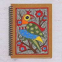 Madhubani journal, 'Peacock Majesty' - Madhubani Style Blank Handmade Paper Journal