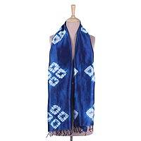 Tie-dyed silk scarf, 'Royal Quartet' - Tie-Dyed Fringed Silk Scarf in Royal Blue from India