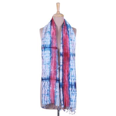 Tie-dyed silk scarf, 'Flourishing Vines' - Tie-Dyed Silk Shawl in Strawberry and Caribbean Blue