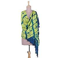 Tie-dyed silk shawl, 'Sunny Splendor' - Tie-Dyed Silk Shawl in Chartreuse and Caribbean Blue