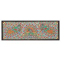 Madhubani painting, 'Dance of the Peacocks' - Peacock Theme Signed India Madhubani Folk Art Painting