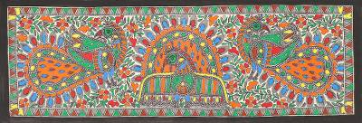 Peacock Theme Signed India Madhubani Folk Art Painting