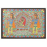 Madhubani painting, 'The Bride in the Palanquin' - Wedding Theme Signed India Madhubani Folk Art Painting