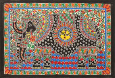 Elephant Theme Signed India Madhubani Folk Art Painting