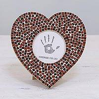 Glass mosaic photo frame, 'Romantic Memories' (3 in.) - 3 in. Glass Mosaic Heart Photo Frame in Red from India