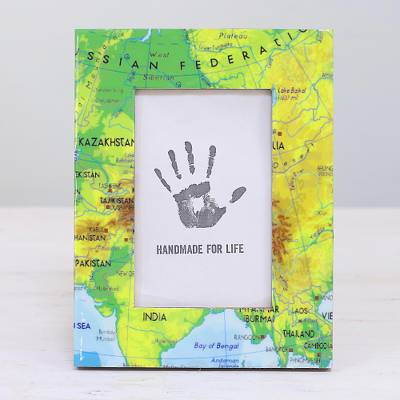 Wood photo frame, 'Travel the World' (4x6) - 4x6 Rectangular Map-Themed Wood Photo Frame from India
