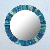 Wood mirror, 'Blue Radiance' - Circular Blue Mango Wood Wall Mirror from India