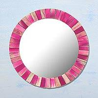 Wood wall mirror, 'Pink Radiance' - Circular Pink Mango Wood Wall Mirror from India