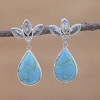 Blue topaz dangle earrings, 'Blue Splash' - Marquise Blue Topaz and Silver Dangle Earrings from India