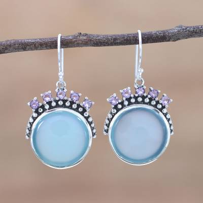 Chalcedony and amethyst dangle earrings, 'Ocean Coves' - Chalcedony and Amethyst Dangle Earrings from India