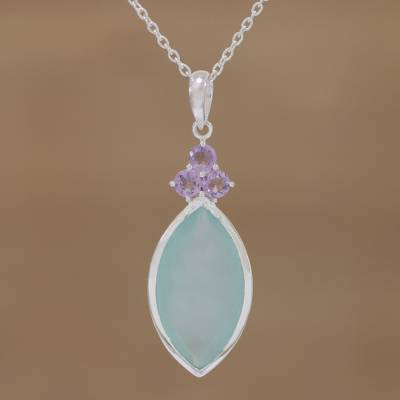 Chalcedony and amethyst pendant necklace, 'Exquisite Aqua' - Marquise Chalcedony and Amethyst Pendant Necklace from India