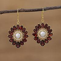 Gold plated garnet and cultured pearl dangle earrings, 'Gleaming Suns' - Gold Plated Garnet and Pearl Dangle Earrings from India