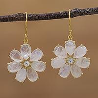 Gold plated rainbow moonstone and aquamarine dangle earrings,