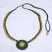 Ceramic beaded pendant necklace, 'Bright Essence' - Hand Painted Indian Ceramic Beaded Necklace in Green