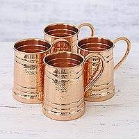 Copper tankards, 'Revelry' (set of 4) - Set of Four Handcrafted Copper Tankards