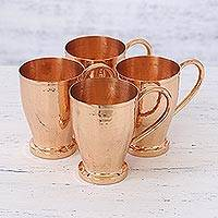 Copper mugs, 'Beautiful Friendship' (set of 4) - Four Handcrafted Copper Drinking Mugs from India