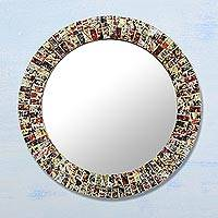 Glass mosaic mirror, 'Midnight Glamor' - Handcrafted Circular Glass Mosaic Wall Mirror from India