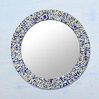 Glass mosaic mirror, 'Blue Splash' - Circular Glass Mosaic Wall Mirror in Blue from India