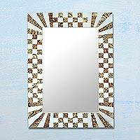 Glass mosaic wall mirror, 'Natural Vines' - Glass Mosaic Wall Mirror with Vine Motifs from India