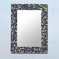 Glass mosaic wall mirror, 'Late Night Beauty' - Rectangular Glass Mosaic Wall Mirror in Navy from India