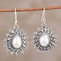 Cultured freshwater pearl dangle earrings, 'Celestial Droplet' - Indian Cultured Freshwater Pearl Teardrop Dangle Earrings