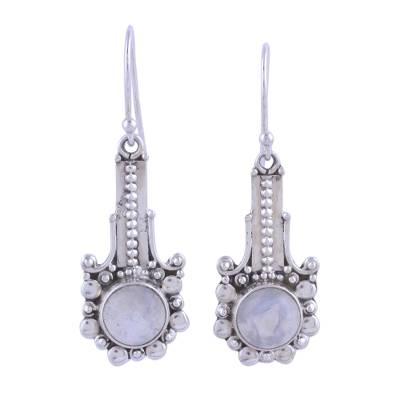 Rainbow Moonstone and 925 Silver Dangle Earrings from India