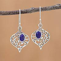 Lapis lazuli dangle earrings, 'Blue Jali' - Lapis Lazuli and Silver Jali Dangle Earrings from India