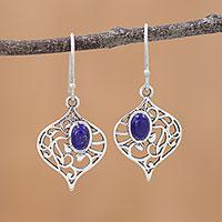 Lapis lazuli dangle earrings, 'Blue Jali'