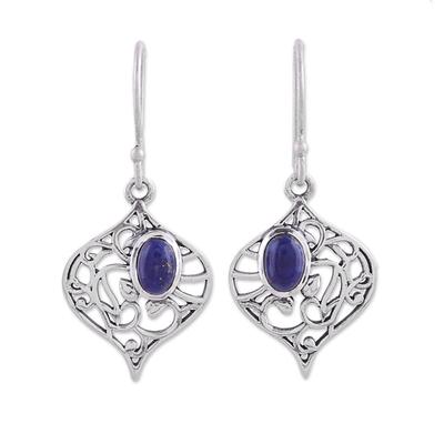 Lapis lazuli dangle earrings, 'Blue Jali' - Lapis Lazuli and Silver Jali Dangle Earrings from India