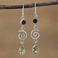 Citrine and garnet dangle earrings, 'Fun Shimmer' - Citrine and Garnet Spiral Dangle Earrings from India