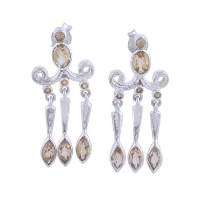 Citrine and Sterling Silver Chandelier Earrings from India
