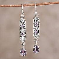 Amethyst dangle earrings, 'Pretty in Purple' - Amethyst and Sterling Silver Dangle Earrings from India