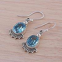 Blue topaz dangle earrings, 'Sparkling Blue Fans' - Fan-Shaped Blue Topaz and Silver Dangle Earrings from India