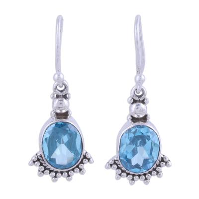Blue topaz dangle earrings, 'Sparkling Blue Fans' - Fan-Shaped Blue Topaz and Silver Dangle Earrings from India